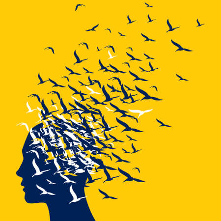 flying birds to human head - Illustration