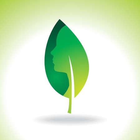 reversed: Green leaf isolated on white background - Illustration Illustration