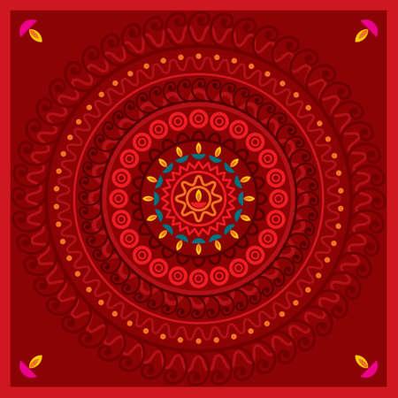 Elegant red background with gold ornament - Illustration