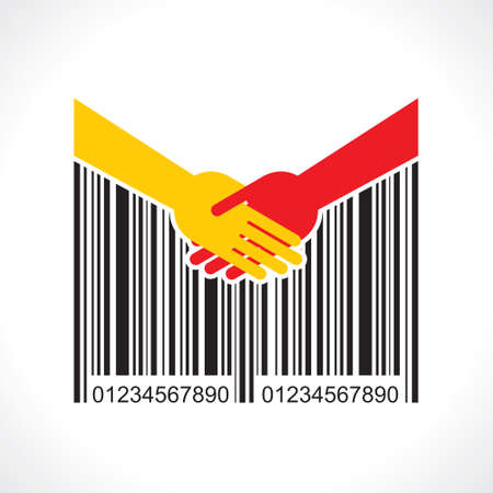 shaking hand with bar-code Vector