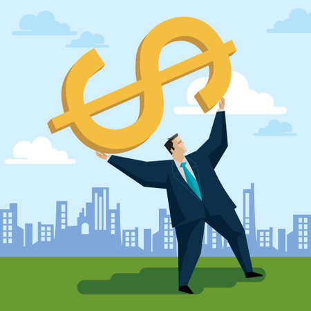purchasing power: Businessman raises a dollar sign - Illustration