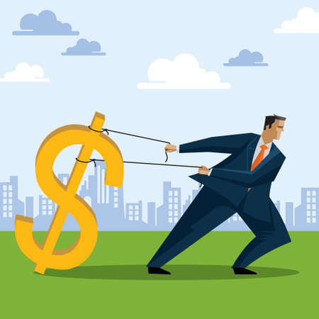 restraining: Businessman catching money - Illustration