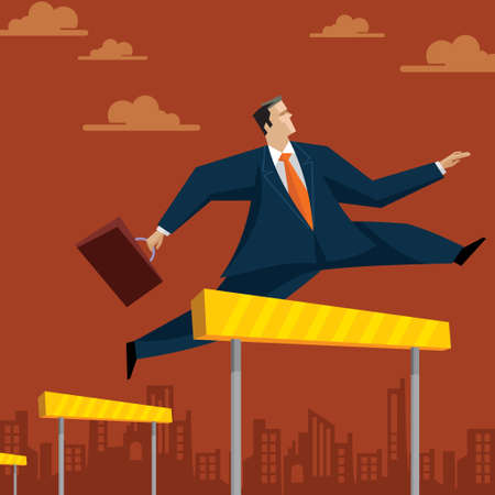 record breaking: Businessman Hurdle - Illustration