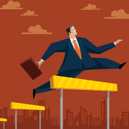 Businessman Hurdle - Illustration