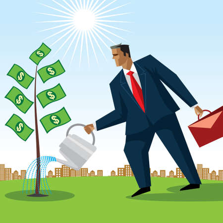 Businessman watering money tree - Illustration Vector