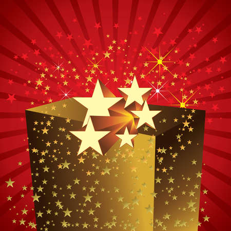 golden gift pack with stars Vector
