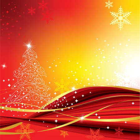 Defocused red abstract christmas background with stars. Vector illustration - Vector