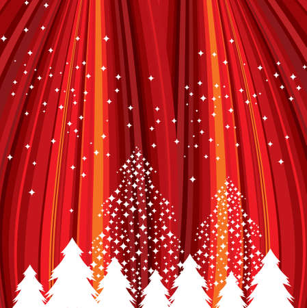 photographic effects: Defocused red abstract christmas background with stars. Vector illustration
