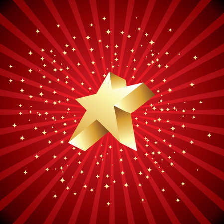 advent calendar: Defocused red abstract christmas background with stars. Vector illustration