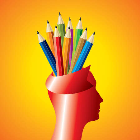 Profile of a man and crayons - Illustration
