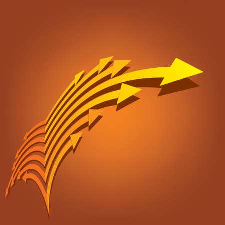 sensory perception: Vector yellow arrows sign - Illustration
