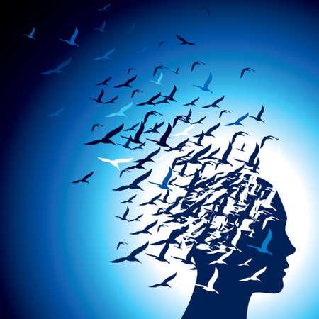 motivation: flying birds to human head Illustration