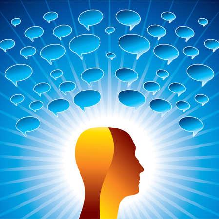 Voice Bubbles over Head - Illustration Illustration