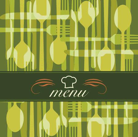 illustration card. Restaurant menu label with flatware icon - knife, spoon, fork.