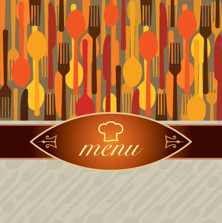 illustration of template for menu card with cutlery - Illustration Vetores