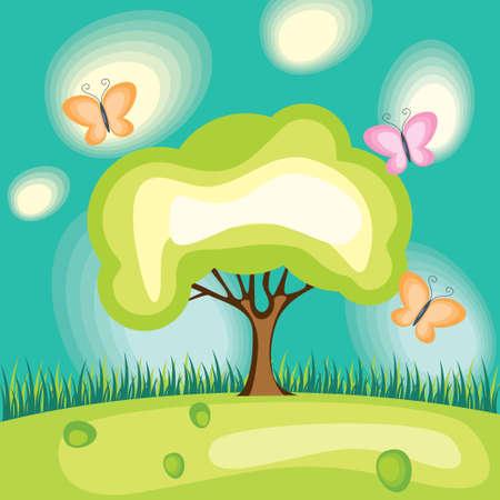 tree and bright varicoloured butterflies,vector illustration Vector