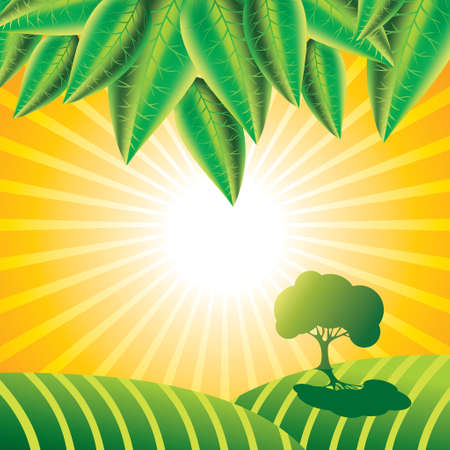 Summer landscape with trees - Illustration