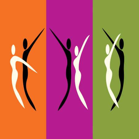 knees bent: Couples dancing together - Illustration