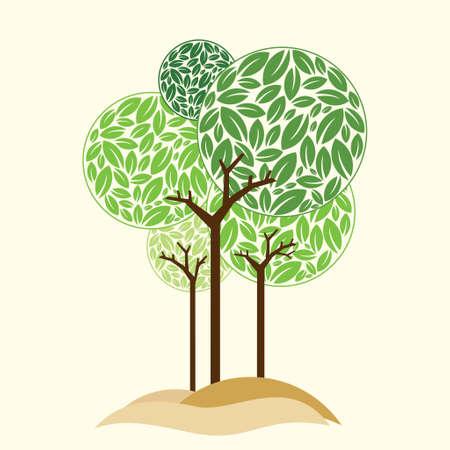 formal garden: Elegant little tree - Illustration