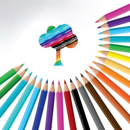 crayon multicolore et l'arbre-illustration