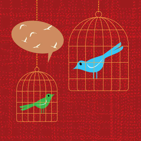 birds and birdcages Illustration Vector