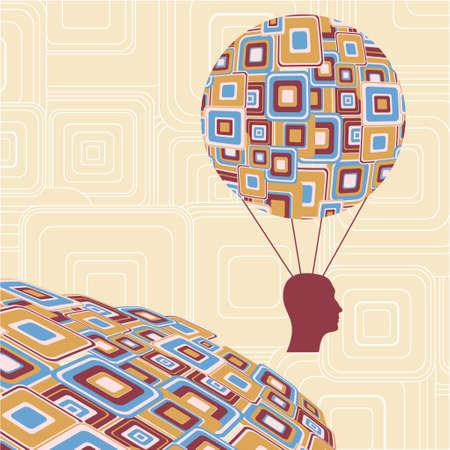 ariel: Head balloon icon - Illustration