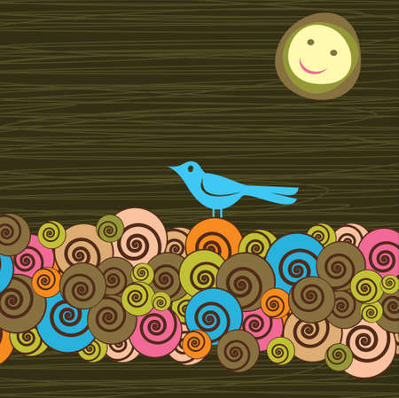 rolling landscape: Fancy bird - Illustration Illustration