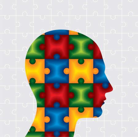 Autism Puzzle Head - Illustration