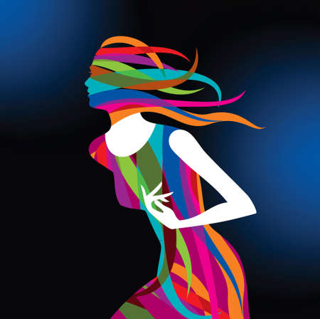 silhouette of a female  with rainbow color Vector
