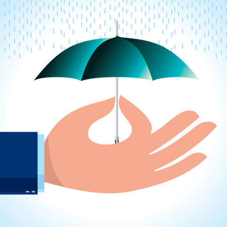 agent holding umbrella Illustration