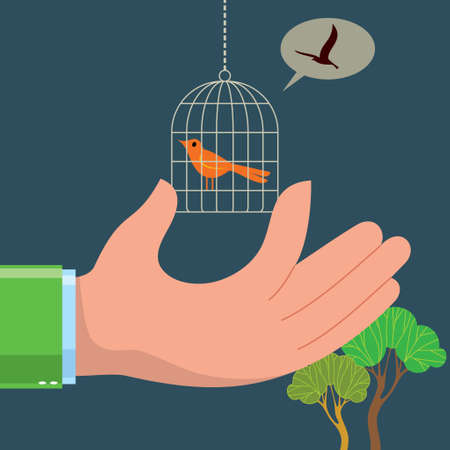contact lens: Human hand holds a cage with bird Illustration