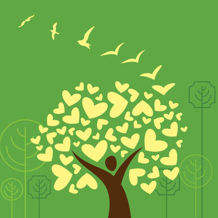Birds and hearts tree Illustration Illustration