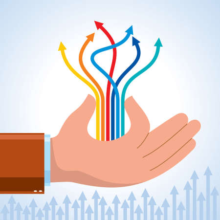 human hand and business chart arrows