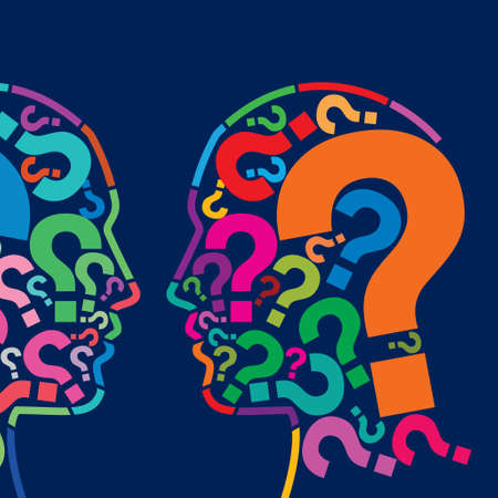 unsolvable: Man s head with many question - Illustration