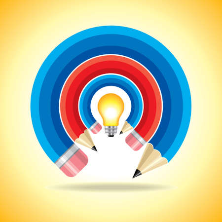 enlightened: Creative ideas icon with a pencil and a lightbulb