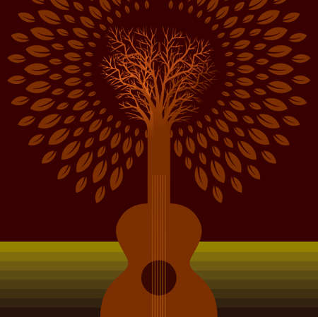 creative musical icon  with guitar and tree Vector