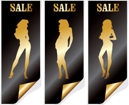 woman on big winter shopping sale .Sale poster vector illustration. Vector