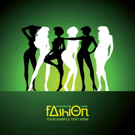 silhouette of fashion girls - Illustration Vector