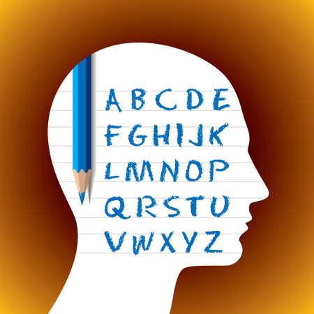 literate: Literate profile - Stock Image Illustration