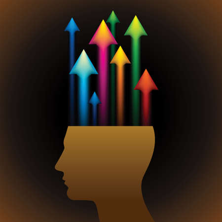concentration gear: Thinking concept-Human head with colorful arrows - Illustration