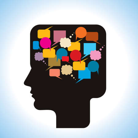 voices: silhouette human head with speech bubbles - Illustration