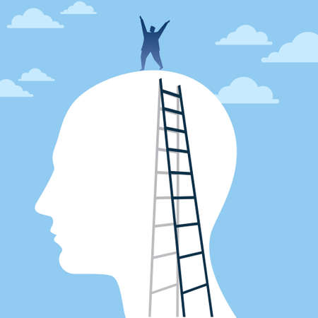 opportunity: Businessman finding ideas and opportunity outside his head Illustration