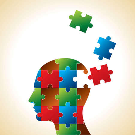 People head with puzzles for psychology concept. Vector illustration