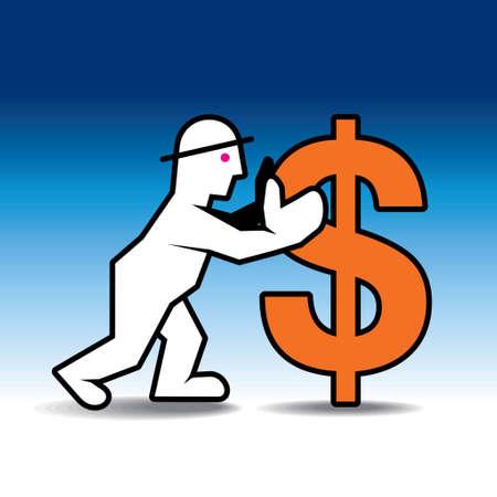 one us dollar coin: Dollar sign money man - Illustration