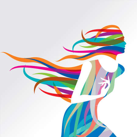 flaying: Beautiful fashion women with abstract elements - Illustration
