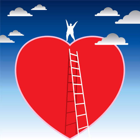 clambering: person climbing the ladder to red heart Illustration
