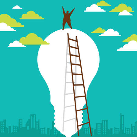 Businessman climbing concept - Illustration
