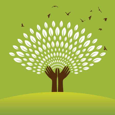 reforestaci�n: Salvar a la naturaleza - Ilustraci�n - Ilustraci�n
