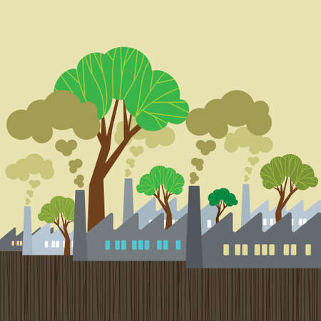 urban sprawl: Environmental Split - Illustration Illustration