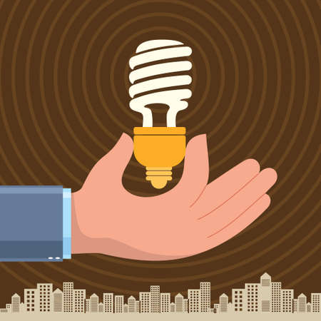 retro revival: Hand holding a compact fluorescent light bulb - Illustration